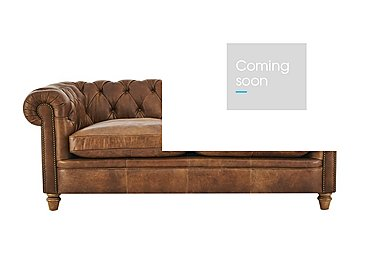 New England Newport 3 Seater Leather Sofa in Cal Original W-Oak Feet on Furniture Village