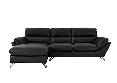 Salvador Leather Corner Chaise in 200/35  Atlantic Dark Grey on Furniture Village