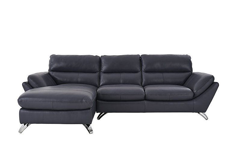 Salvador Leather Corner Chaise in 200/37 Atlantic Heather on Furniture Village