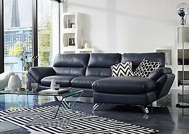 Salvador Leather Corner Chaise in  on Furniture Village