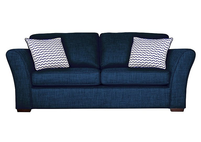 Twilight 3 Seater Fabric Sofa Bed in Lily Navy - Dark Feet on Furniture Village