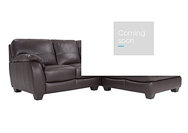 Moods Corner Leather Chaise in An-920d Teak on Furniture Village