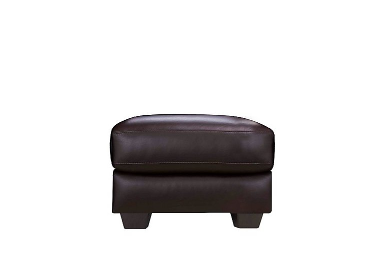 Moods Leather Storage Footstool in An-920d Teak on Furniture Village