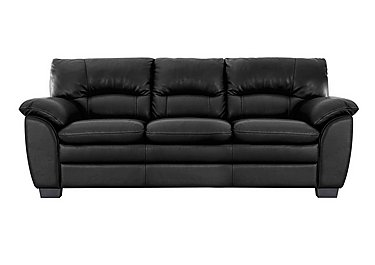 Blaze 3 Seater Leather Sofa in Bv3500 Classic Black on Furniture Village