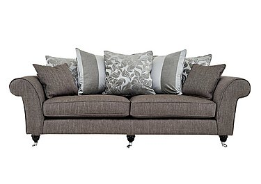 Wellington 4 Seater Fabric Sofa in Hellas Grey -Charcoal/Chr Cast on Furniture Village