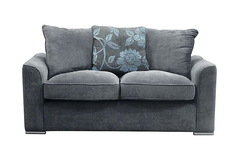Boardwalk 3 Seater Fabric Pillow Back Sofa in Waffle Steel / Lily Teal on Furniture Village