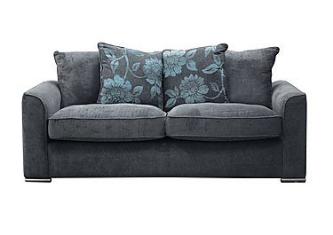 Boardwalk 4 Seater Fabric  Pillow Back Sofa in Waffle Steel / Lily Teal on Furniture Village