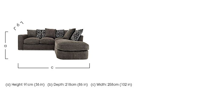 Boardwalk Fabric Pillow Back Corner Chaise Sofa in  on Furniture Village