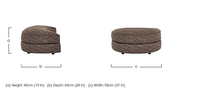 Bailey Fabric D Shaped Footstool in  on Furniture Village