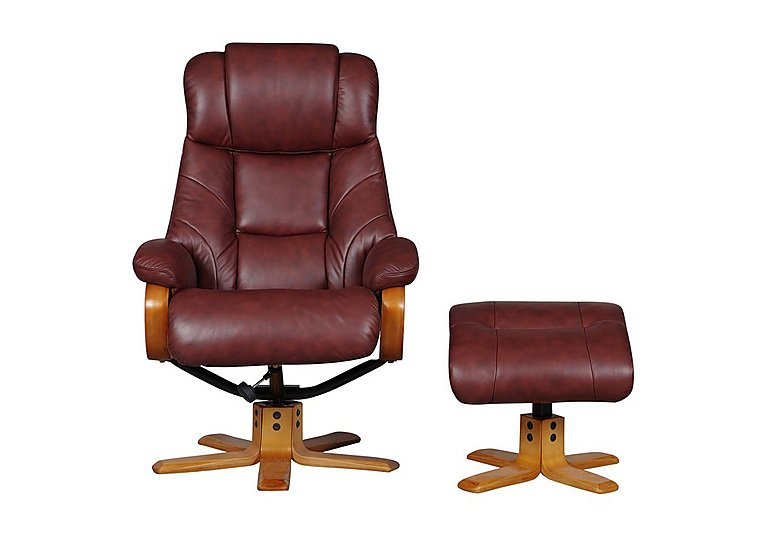 Cologne Leather Armchair with Footstool in Chestnut on Furniture Village