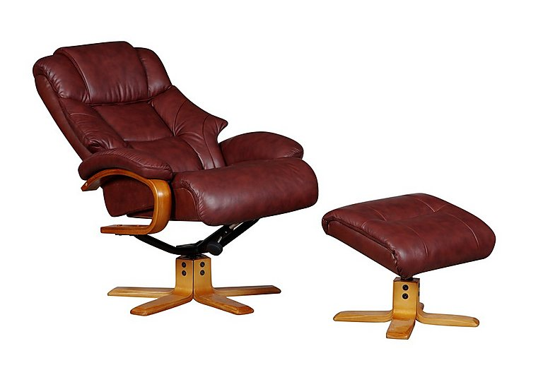 Nice Cologne Leather Armchair With Footstool