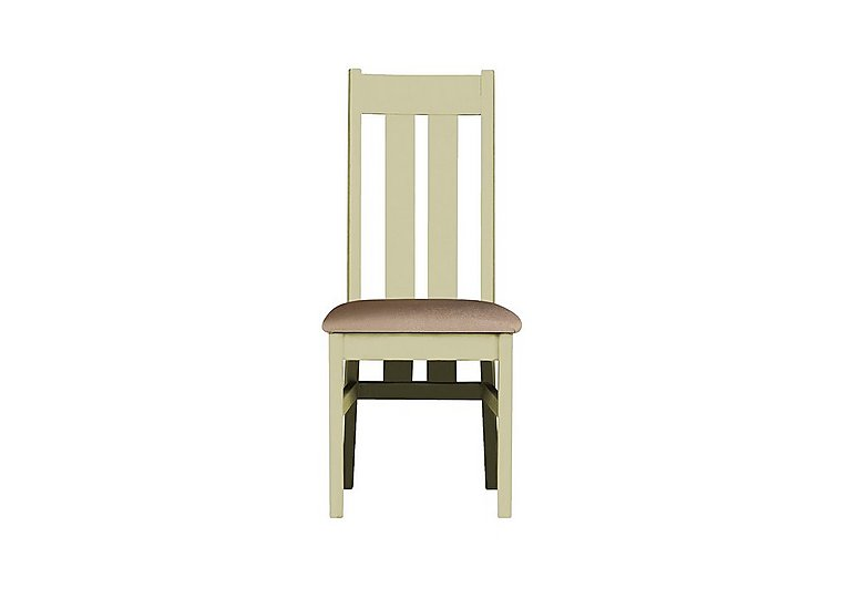 Bordeaux Painted Oak Dining Chair in Neutral Plain Fabric on Furniture Village