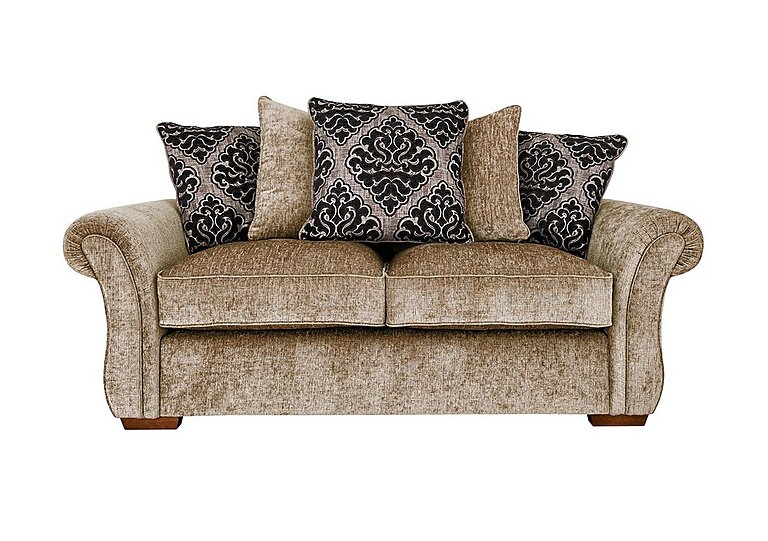 Luxor 2 Seater Fabric Pillow Back Sofa in Elite Mink - Dark Feet on Furniture Village