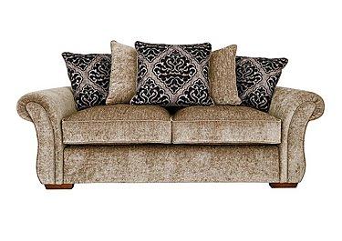 Luxor 3 Seater Fabric Pillow Back Sofa in Elite Mink - Dark Feet on Furniture Village