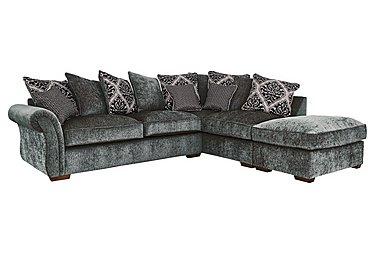 Luxor Fabric Pillow Back Corner Sofa in Elite Charcoal - Dark Feet on Furniture Village