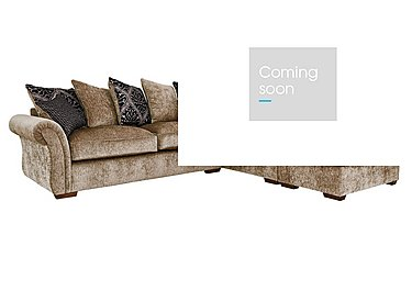 Luxor Fabric Pillow Back Corner Sofa in Elite Mink - Dark Feet on Furniture Village
