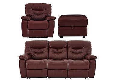 Relax Station Cozy Leather 3 Seater Sofa, Armchair with Power Recliners and Footstool in Nc035c Deep Red on Furniture Village