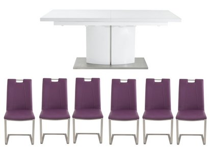 Grande White Extending Table and 6 Chairs