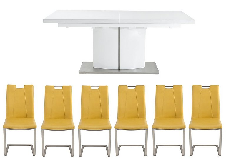 Grande White Extending Table and 6 Chairs - Furniture Village