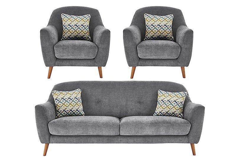 Kurve 3 Seater Fabric Sofa 2 Armchairs Furniture Village