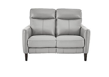 Compact Collection Petit 2 Seater Leather Recliner Sofa in Bv-946b Silver Grey on Furniture Village