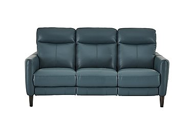 Compact Collection Petit 3 Seater Leather Recliner Sofa in Nc-301e Lake Green on Furniture Village