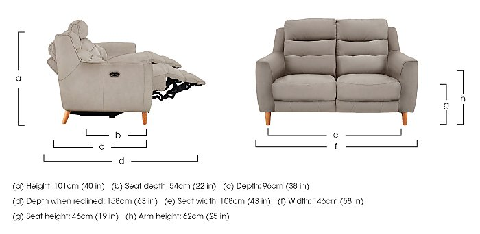 Compact Collection Bijoux 2 Seater Fabric Recliner Sofa in  on Furniture Village