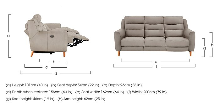 Compact Collection Bijoux 3 Seater Fabric Recliner Sofa in  on Furniture Village