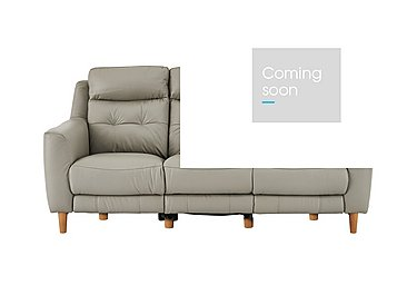 Compact Collection Bijoux 3 Seater Leather Recliner Sofa in Bv-946b Silver Grey on Furniture Village