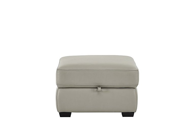 Compact Collection Bijoux Leather Storage Footstool in Bv-946b Silver Grey on Furniture Village