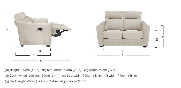 Compact Collection Midi 2 Seater Fabric Recliner Sofa in  on Furniture Village
