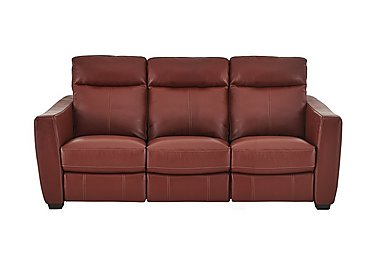 Compact Collection Midi 3 Seater Leather Recliner Sofa in Nc-854e Rustic Red on Furniture Village