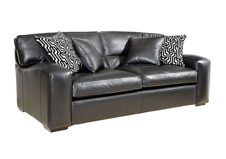 Liberty 4 Seater Leather Sofa in Tusk Nero on Furniture Village