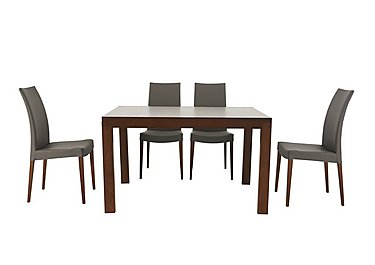 Smart Extending Dining Table with 4 Chairs in Taupe Ekos Pu G8q on Furniture Village