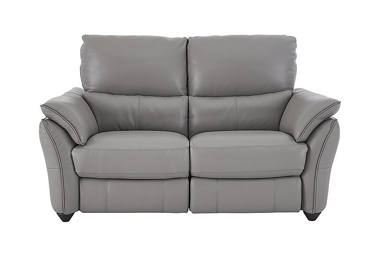 Salamander 2 Seater Leather Recliner Sofa in Bv-946b Silver Grey on Furniture Village