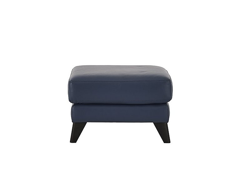 Pacific Leather Footstool in Bv-313e Ocean Blue on Furniture Village