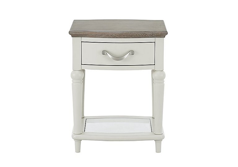 Annecy Lamp Table in Grey Washed Oak And Soft Grey on Furniture Village