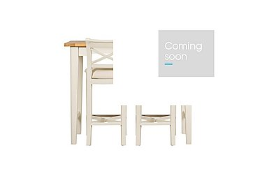 Arles Bar Table and 2 Bar Stools in Off White With Cream Seat on Furniture Village
