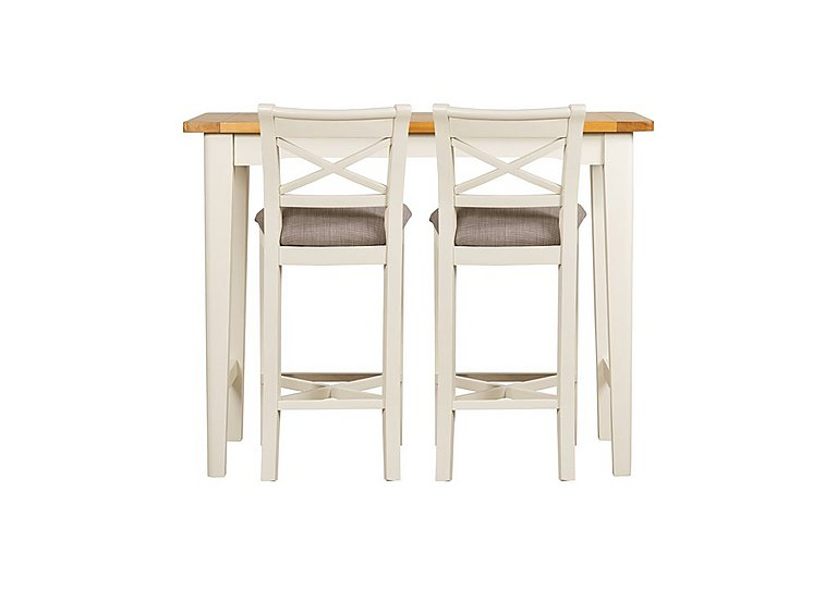 Arles Bar Table and 2 Bar Stools in Off-White With Grey Seat on Furniture Village