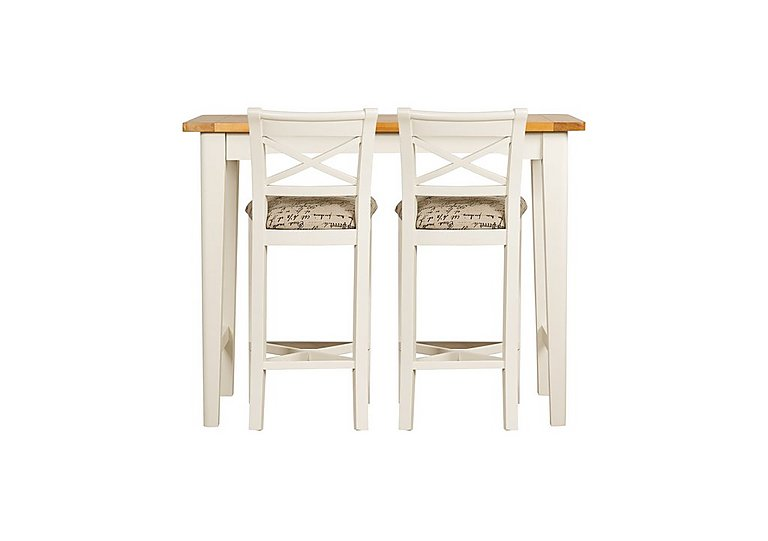 Arles Bar Table and 2 Bar Stools in Off-White With Script Seat on Furniture Village