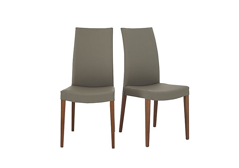 Smart Pair of Dining Chairs in Taupe Ekos Pu G8q on Furniture Village