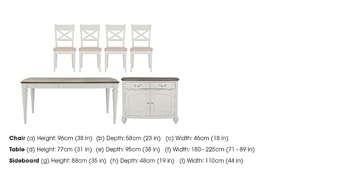 Annecy Extending Dining Table and 4 Chairs With Sideboard in  on Furniture Village