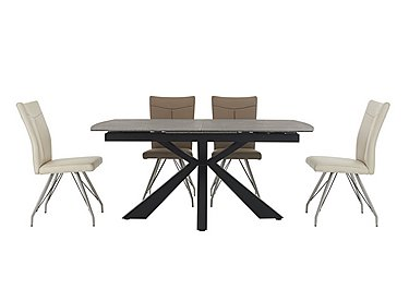 Rodez Dining Table & 4 Aline Chairs in 2 White/ 2 Taupe Chairs on Furniture Village