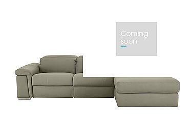 Movimento Leather Recliner Corner Chaise in Torello 328 Tortora on Furniture Village