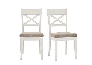 Annecy Pair of Cross Back Fabric Chairs in Pebble Grey on Furniture Village