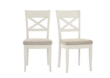 Annecy Pair of Cross Back Fabric Chairs in Sand on Furniture Village
