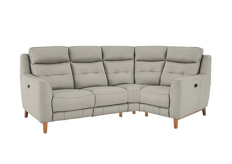 Compact Collection Bijoux Leather Recliner Corner Sofa in Bv-946b Silver Grey on Furniture Village