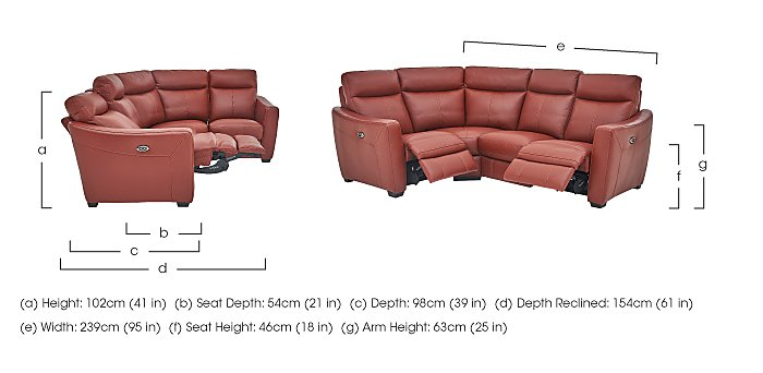 Compact Collection Midi Leather Recliner Corner Sofa in  on Furniture Village