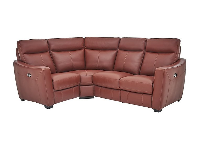 Compact Collection Midi Leather Recliner Corner Sofa in Nc-854e Rustic Red on Furniture Village