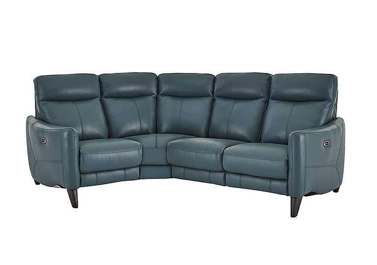 Compact Collection Petit Leather Recliner Corner Sofa in Nc-301e Lake Green on Furniture Village